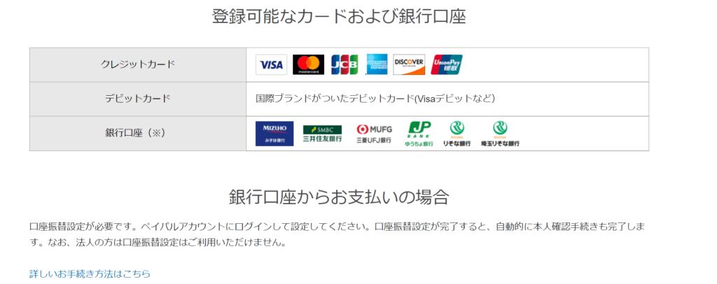 PayPal登録可能なカード・口座